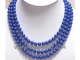 8mm blue round lapis lazuli 3 rows necklace