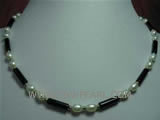 4-12mm black column shape agate & freshwater pearl necklace
