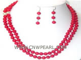 8mm red round coral double rows necklace & earrings