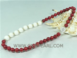 12mm white coral with 10mm red coral necklace on wholesale