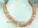 three strands bamboo pink coral necklace on wholesale