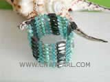 5-6mm green smooth on both sides freshwater pearl wrap bracelet with small crystal