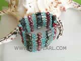 5-6mm dark red smooth on both sides freshwater pearl wrap bracelet with small crystal
