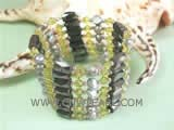 5-6mm gray smooth on both sides freshwater pearl magnet bracelet with green crystal