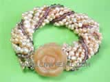 4-5mm yellow nugget freshwater pearl twisted bracelet with irregular crystal
