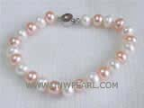 8-9mm pink and white potato freshwater pearl  bracelet with an exquisite silver plated box clasp