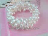 7-8mm white side drilled freshwater pearl wrap bracelet