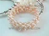 7-8mm pink side drilled freshwater pearl wrap bracelet