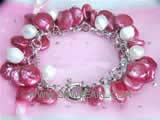 8-12mm white nugget freshwater pearl bracelet  with amaranth coin freshwater pearls