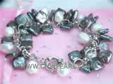 7-8mm white nugget freshwater pearl bracelet  with black square freshwater pearls