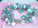 8-12mm white nugget freshwater pearl bracelet  with dark cyan coin freshwater pearls
