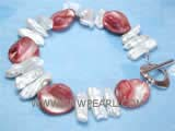 5-6mm white biwa freshwater pearl bracelet  with red shell