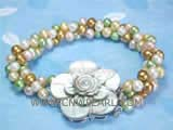 three rows 5-6mm multicolor round freshwater pearl bracelet with a flower shell clasp