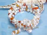 5-6mm white side drilled freshwater pearl bracelet with red irregular agate