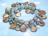 5-6mm black nugget freshwater pearl bracelet  with coffee round shell beads