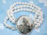three rows 7-8mm white potato freshwater pearl bracelet with an exquisite oval shell cameo clasp