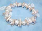 7-8mm white potato freshwater pearl bracelet with white biwa freshwater pearl