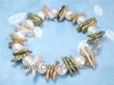 7-8mm white potato freshwater pearl bracelet with multicolor biwa freshwater pearl