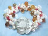 6-7mm white top drilled freshwater pearl twisted bracelet  with yellow raindrop crystal