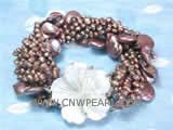 5-6mm coffee nugget and coin freshwater pearl twisted bracelet