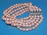 five rows 6-7mm pink potato freshwater pearl bracelet  with silver plated  clasp
