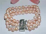 three rows 7-8mm pink potato freshwater pearl bracelet
