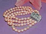 four rows 6-7mm pink potato freshwater pearl bracelet
