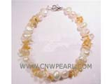 7-8mm white nugget freshwater pearl bracelet with irregular crystal