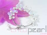 5-6mm white potato freshwater pearl bracelet with moon stone