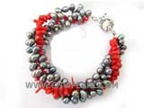 three rows 5-6mm black top drilled potato freshwater pearl bracelet