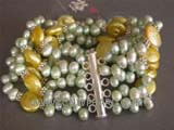 five rows 6mm light green side drilled freshwater pearl bracelet with coin freshwater pearls