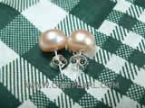 10.5-11mm pink bread freshwater pearl stud earrings