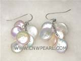 12mm multicolor coin freshwater pearl dangling earrings