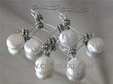 12mm white coin freshwater pearl dangling earrings