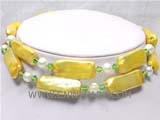 two rows 10-23mm yellow oblong freshwater pearl necklace with white round pearl beads