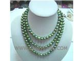 beautiful 8-9mm green potato freshwater pearl necklace without clasp
