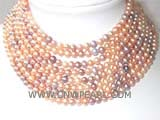eight rows 8mm multicolor round freshwater pearl necklace with a sterling silver box clasp