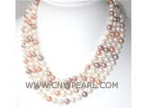 four rows 7-8mm multicolor round freshwater pearl necklace with a sterling silver box clasp