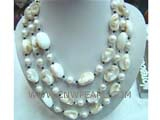 beautiful  white round freshwater pearl necklace with irregular seashell beads