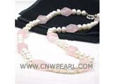 7-8mm white bread freshwater pearl necklace with pink faceted crystals