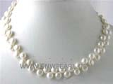 7-8mm  white bread freshwater pearl necklace with a plated silver lobster clasp
