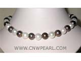 11-12mm white and black round freshwater pearl necklace with sterling silver clasp