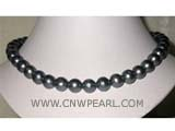 11-12mm black round freshwater pearl necklace with sterling silver clasp