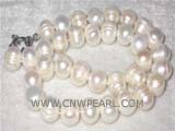 13mm white potato freshwater pearl necklace with a 925 sterling silver moon clasp