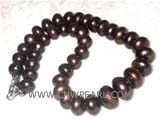14mm red wine bread freshwater pearl necklace with a 925 sterling silver clasp