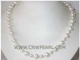 8-12mm white round freshwater pearl necklace with a 925 sterling silver clasp