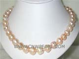 11-12mm pink potato freshwater pearl necklace with a sterling silver clasp