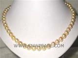 7mm gold round akoya pearl necklace with a sterling silver clasp
