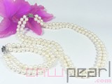 double rows 7-8mm white potato freshwater pearl set of necklace and bracelet