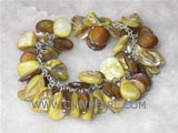 8mm round natural shell and 15-15mm yellow shell bracelet